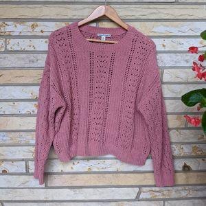 MORAL FIBER super soft chenille open knit sweater